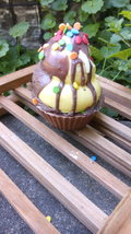 banana chocolate cupcake soap, ice cream soap, kids soap, bath soap, bar soap, h - $5.25