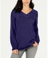 $49.50 Style & Co Pleated-Sleeve Tunic Sweater, Midnight Iris - $11.25
