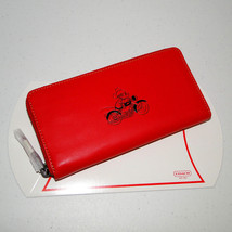 Coach Disney Mickey Mouse Ltd Edition Lg Zip Around Red Wallet - $169.00
