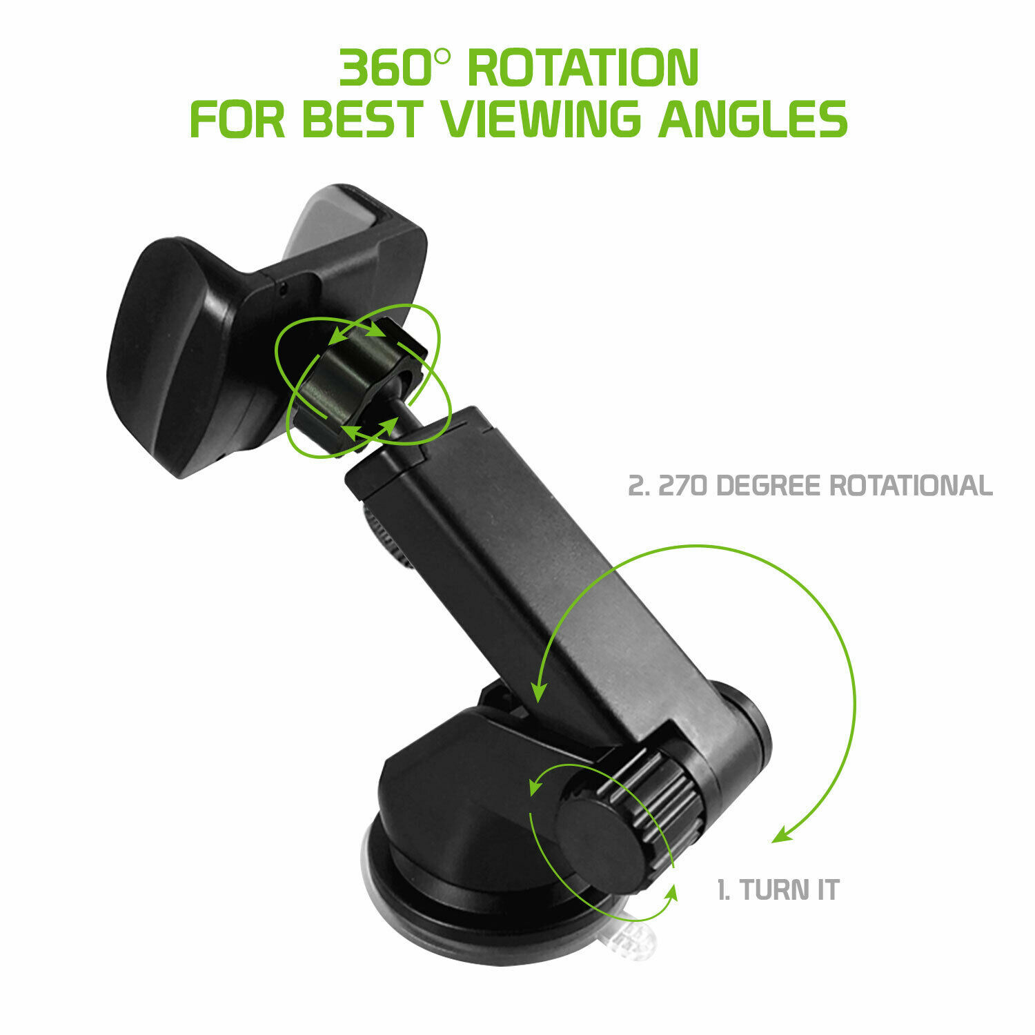 Extendable Telescopic Arm Dash / Windshield 360° Rotation Phone Holder Car Mount