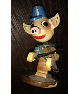 Vintage Japan Wood Toy Bobble Head LITTLE PINK PIG Playing FIDDLE 1950's... - $11.00