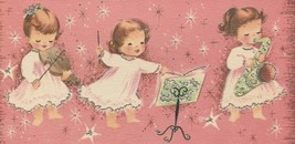 Vintage Christmas Card Angel Band Pink Silver Trim Sunshine With Envelope - $10.88