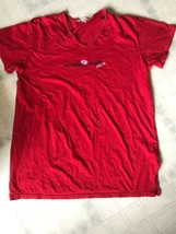 Victorias Secret Red Sleep Shirt-Size Large Short Sleeve Lips Love Studded - $21.32