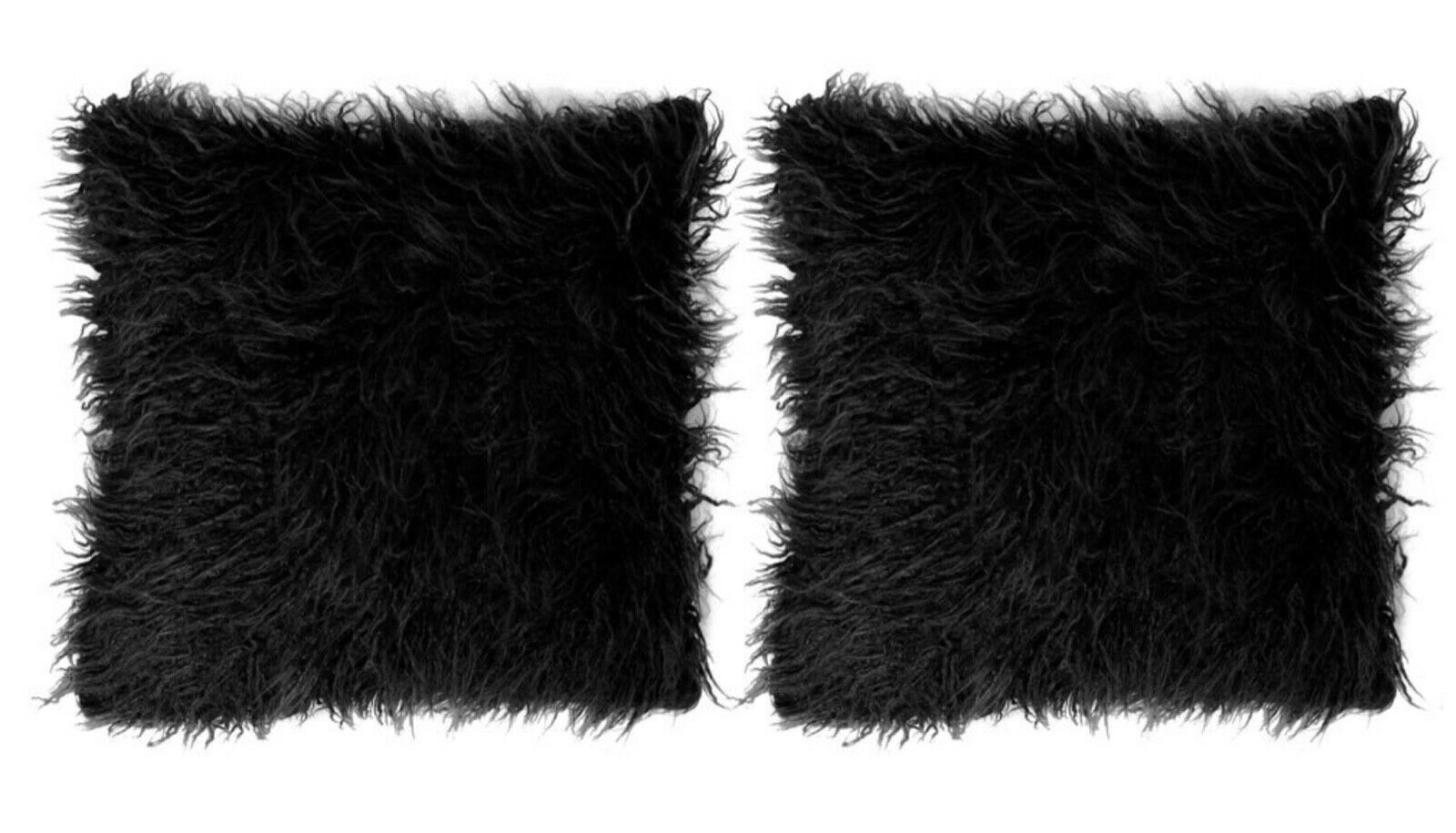 "Primary image for Mongolian Faux Fur 18"" x 18"" Throw Pillows (2 Pillows) in Black"