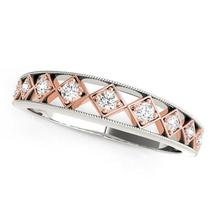 14k White Gold And Rose Gold Unique Diamond Wedding Band (1/10 cttw) - $823.84