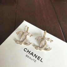 SALE* AUTHENTIC Chanel Gold CC Ribbon Crystal Large Piercing Earrings image 7