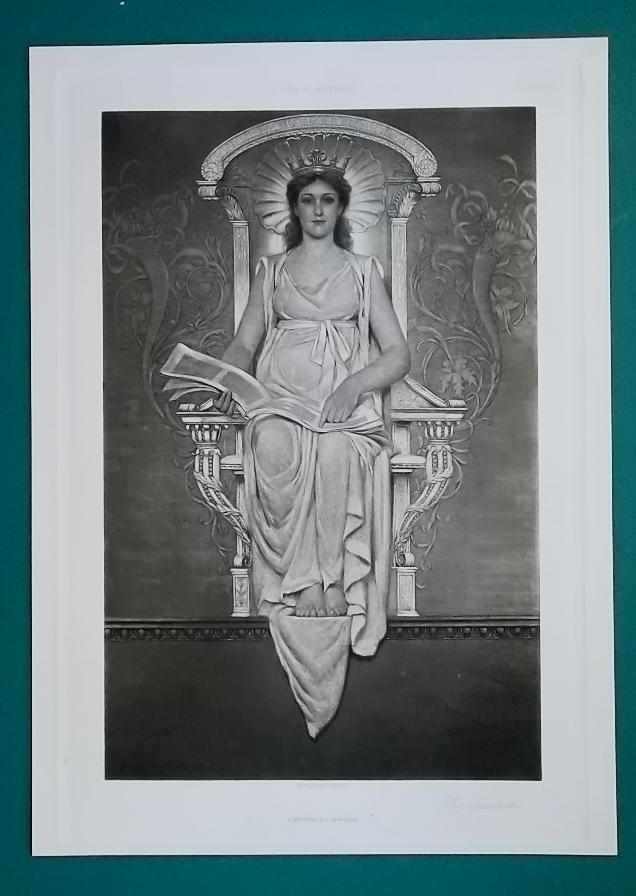 YOUNG WOMAN Symbol of Civilization Congress Library - 1888 Photogravure Print