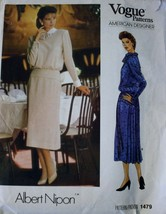 80s Vogue 1479 American Designer Albert Nipon, Blouson Dress with Pleated Jabot  - $12.00