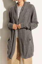$495 NWT Vince Hooded Open Front Cashmere Gray  Cardigan sz L - $239.99