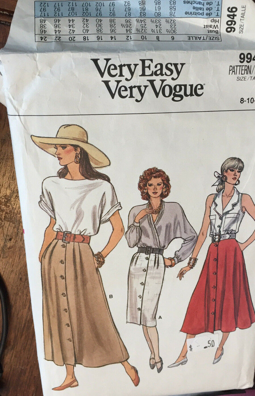 Primary image for Vogue 9946 Misses Skirts Sizes 8-10-12 Vintage Sewing Pattern Uncut