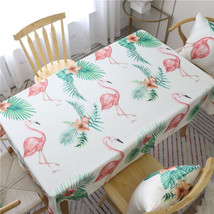 Flamingo Polyester Cotton Tablecloth Dining Table Cover For Kitchen Home... - $7.69+