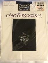 Vintage Kunert Chic Opaque Black Patterned Chinchilan Pantyhose M 42-44 - $22.76