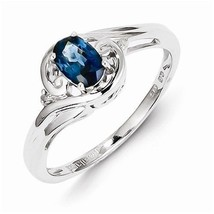 STERLING SILVER GENUINE NATURAL 0.45CT BLUE SAPPHIRE & DIAMOND RING - SI... - $51.97