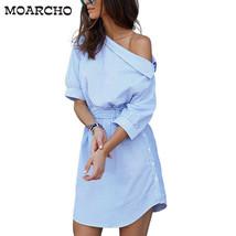 women shirt dress, side split Elegant half sleeve waistband Casual beach dresses - $26.18