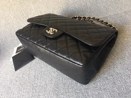 AUTHENTIC CHANEL BLACK CAVIAR QUILTED JUMBO SINGLE FLAP BAG SILVER HARDWARE image 4