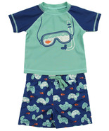 FIRST IMPRESSIONS NEW INFANT 2PC GOGGLE TURTLE RASH GUARD SWIM TRANKS UP... - $14.84