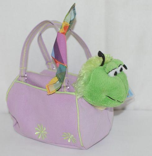 Webkinz HM434 Plush Green Caterpillar Purple Pet Carrier 9 Inches Age 3 plus