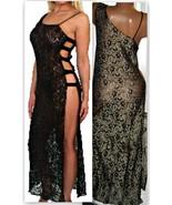 Black Gold Stretch Lace Long Nightgown 1X 2X Se... - $24.00