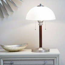 Glass Dome Lamp Stately Frosted Shade Wood Body Steel Accents 22.5 Inche... - $74.79