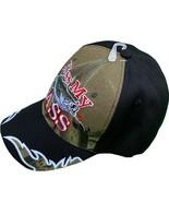 Kiss My Bass Camo Front Black Back Baseball Hat Adjustable New - £9.07 GBP