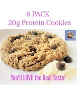 6 PACK 20g Whey Protein Cookie, Large Size - Real Taste - Awesome Oat Co... - $29.49
