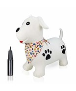 Inpany Jumping Horse Bouncy Hopper Inflatable- White Dog Ride on Rubber ... - $22.41