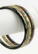 VINTAGE ESTATE Jewelry CHINESE CLOISONNE ENAMEL LOT OF 3 BANGLE BRACELETS STACK image 2