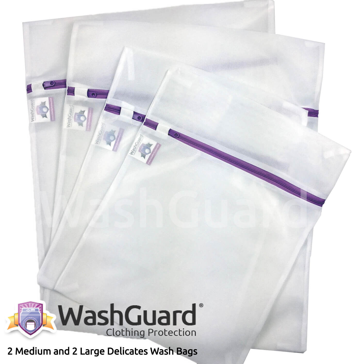 WashGuard Mesh Wash Bags for Laundry Protect Delicate Clothes & Underwear - 4pk