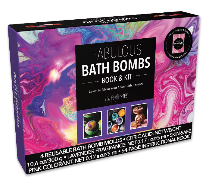 New Fabulous Da Bomb Bath Bombs Molds Lavender and Citric Acid Book & Kit