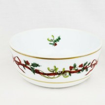 Vintage 1987 Royal Worcester Holly Ribbons Salad Bowl Made in England Po... - $35.99
