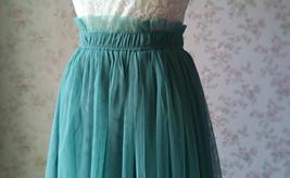 MISTY GREEN Full Long Tulle Skirt Misty Green Floor Length Bridesmaid Skirt image 6