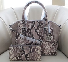 Michael Kors Ciara Large Embossed Leather Cross-Body Satchel & Wallet NW... - $305.91