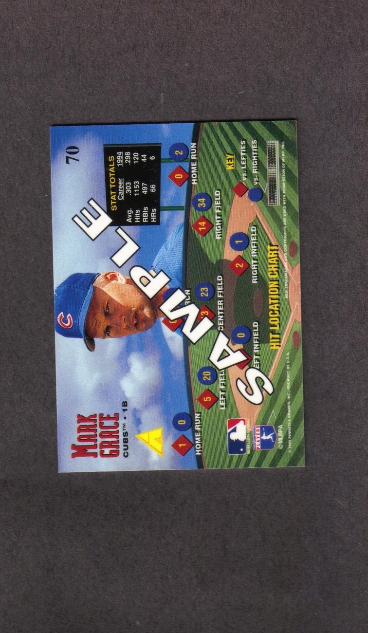 1995 Pinnacle Zenith Mark Grace Rare Promo Card