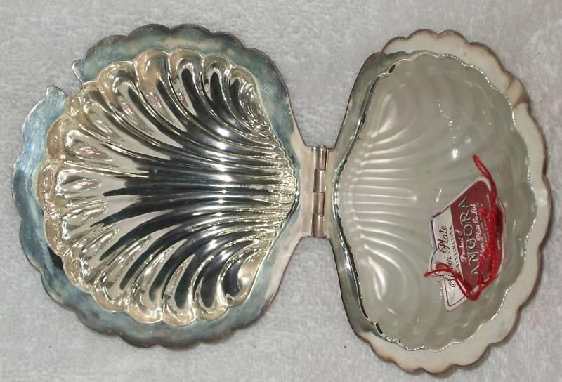 Angora Silverplated Clam Shell Butter Dish Glass insert