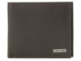 Calvin Klein Ck Men's Leather Wallet Id Billfold RFID Coin Case Brown 79215