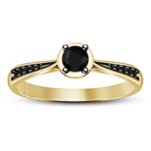 Round Brilliant Cut Solitaire with Accents Engagement Ring 14K Gold Plated 5 6 - $65.77