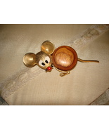 VINTAGE 1960's BIG EAR MOUSE PIN w/ FLEXI TAIL & WOOD BODY BROOCH - $9.99