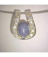 Pendant Burma Star Sapphire White Sapphire Silver Unisex Horseshoe Desig... - $118.75
