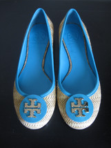 NEW IN BOX AUTHENTIC TORY BURCH REVA RAFFIA STRAW BALLET FLATS SHOES SIZ... - $173.25