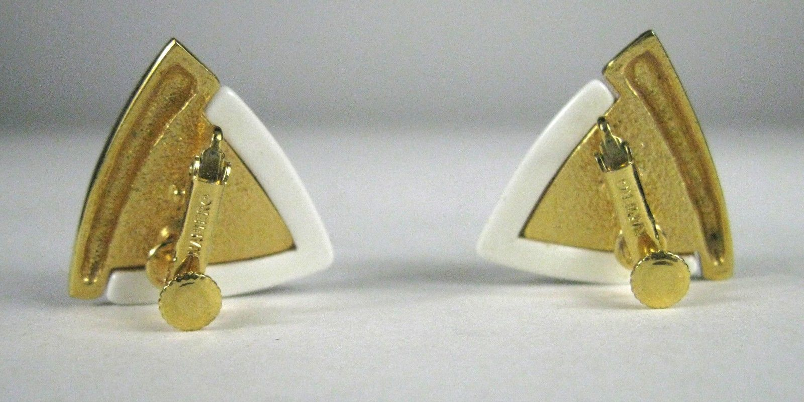 NAPIER Clip Earring Screw Back White Lucite Goldtone Signed VTG Vintage image 3