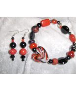 Chocolate Covered Cherries Glass and Ceramic Bead Handmade  Bracelet and... - $8.00