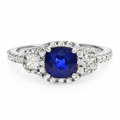 1.2 ct Ceylon blue Sapphire and diamond ring 14k gold