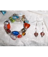 Hearts in All Colors Glass and Ceramic Bead Handmade  Bracelet and Earri... - $8.00