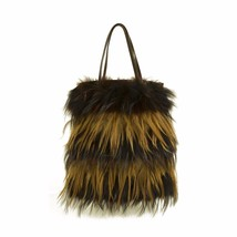 Fendi Long Hair Fox Stripped Fur Brown Leather Shoulder Bucket Tote Bag ... - $1,237.50