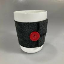 Starbucks Red Button Gray Wool Sleeve Coffee Mug 14 oz No Handle 2010 NEW - $25.97