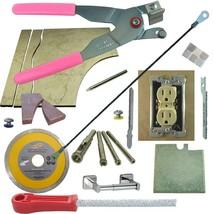 Tile & Glass Cutter Kit Pnk LH Curve Outlet Jigsaws Rodsaw Grinder 5 Drills File - $83.22