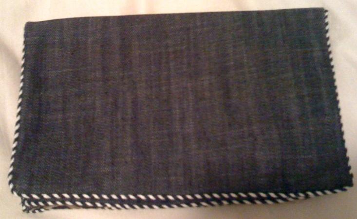 PATTERSON J. KINCAID denim lightweight clutch bag purse animal print lining NEW!