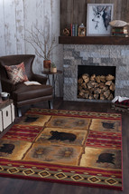 Lodge Cabin Bear Southwestern Pinecone Red Area Rug **FREE SHIPPING** - €78,49 EUR+