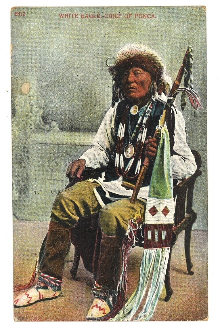 White Eagle Chief Ponca vintage postcard Native American 1900