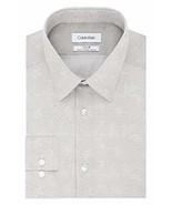 Calvin Klein Men's Dress Shirt Slim Fit Non Iron Stretch Print, Grey, 18... - $34.65